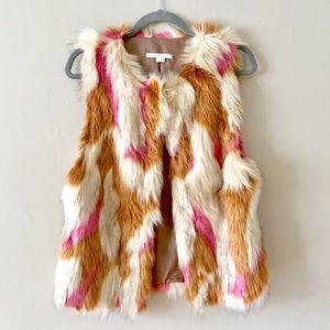 Nordstrom Shaggy Faux Fur Vest Tan Pink Ivory